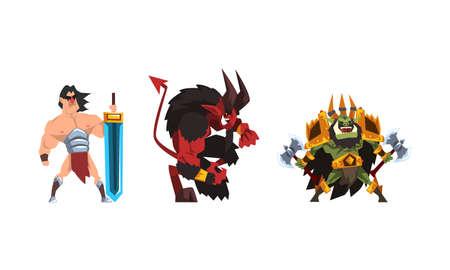 Warlike Fantastic Magical Creature Characters Set Cartoon Vector Illustration Vektoros illusztráció