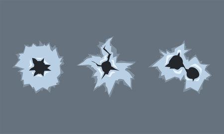 Bullet Holes from Gun Shot in Metal Surface Vector Set