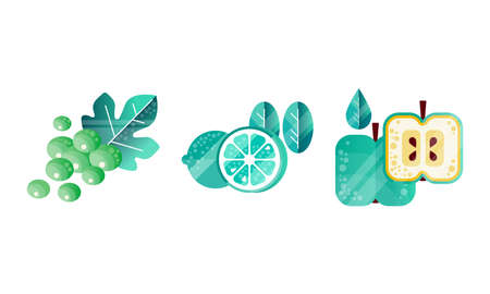 Fruit with Grape Cluster, Lemon and Apple Vector Set