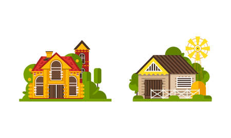 Rural Farm Area with House and Building Rested on Green Lawn Vector Set