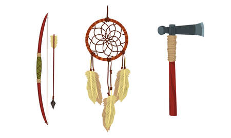 Authentic Items and Tools of Native American Indians Vector Set