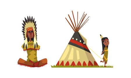 Native American Indians in Traditional Ethnic Clothes with Feathers in Their Head Vector Set