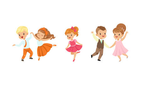 Little Boy and Girl Dancing in Pairs and Moving to Music Vector Illustration Set Vecteurs