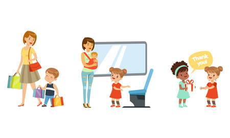 Polite Girl Yielding a Seat to Woman with Baby in Public Transport and Boy Carrying Shopping Bags Vector Illustration Set Vecteurs