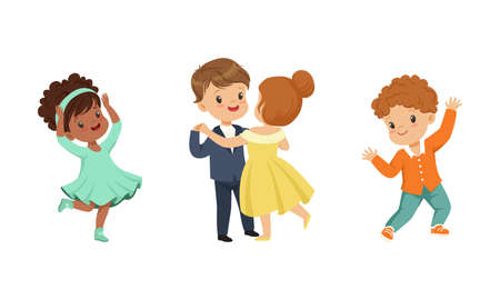 Little Boy and Girl Dancing in Pairs and Moving to Music Vector Illustration Set