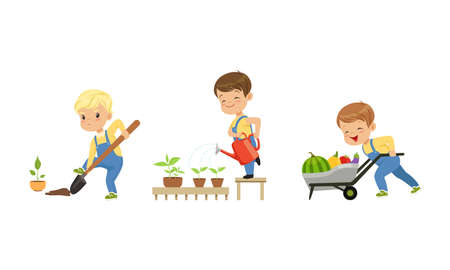 Cute Little Boy Character Digging the Hole with Shovel, Watering Plants and Harvesting Pulling Wheelbarrow with Crops Vector Set