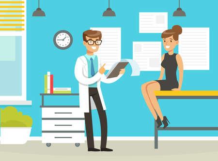Man Doctor at His Cabinet Giving Advice to His Patient Vector Illustration