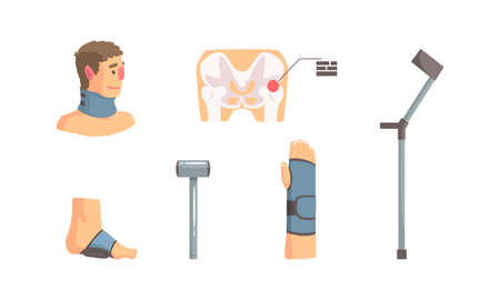 Bone Fractures Set, Injury and Treatment of Neck, Arm, Foot Cartoon Vector Illustration