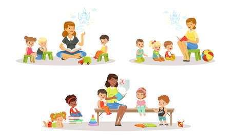 Teacher Reading Book to Kids in Kindergarten Set, Boys and Girls Listening to Fairy Tale in Classroom at Primary School Cartoon Vector Illustration