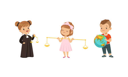 Kind and Fair Little Girl and Boy Character Playing Law Holding Balance Vector Illustration Set