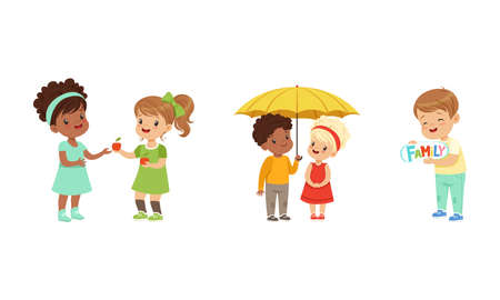 Kind and Fair Little Girl and Boy Character Sharing Apple and Umbrella with Agemate Vector Illustration Set