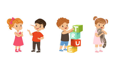 Kind and Fair Little Girl and Boy Character Playing with Toy Blocks and Denying Lie Vector Illustration Set