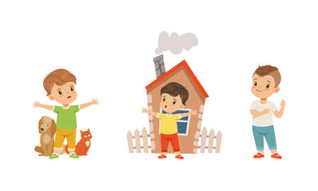 Kind and Fair Little Boy Character Protecting Pet and Home Vector Illustration Set
