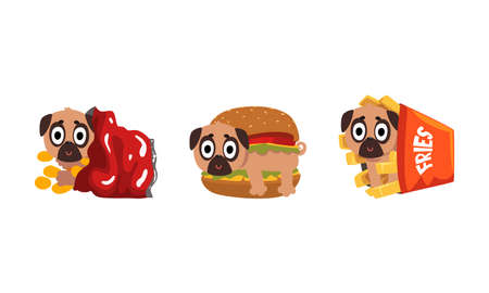 Cute Funny Pug Dog Character as Fast Food Ingredient Vector Set Vector Illustration