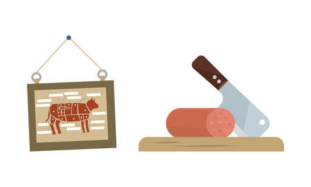Butcher Shop or Meat Market with Wurst on Cutting Board and Board with Beef Vector Set