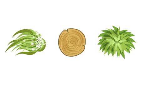 Bush Growth and Wood Circle as Landscape Elements Vector Set