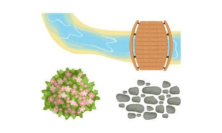 Bush Growth, Pebbles and Wooden Bridge Across Stream as Landscape Elements Vector Set