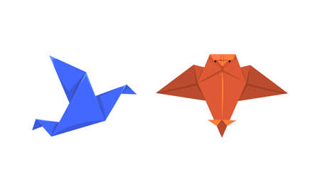 Origami or Paper Folding with Sculpture and Figures Made of Flat Square Sheet of Paper Vector Set