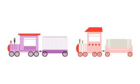 Toy Colorful Train or Locomotive as Rail Transport Vehicle with Wagon Vector Set