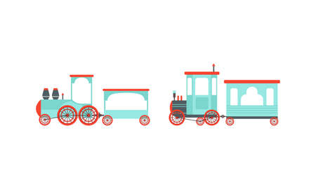 Bright Toy Train or Locomotive Models as Rail Transport Vehicle with Wagon Vector Set