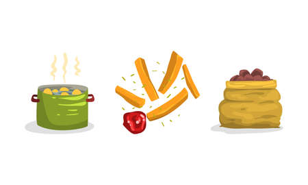 Raw Potato Boiling in Cooking Pot and French Fries Strips with Tomato Sauce as Root Vegetable Food Vector Set
