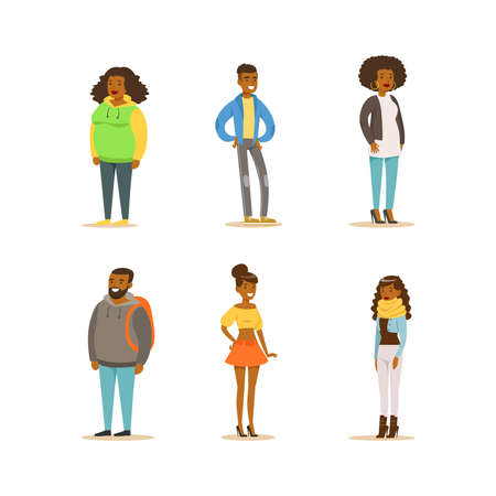 Cheerful African American People Set. Full Length Portraits of Men and Women Dressed Casual Clothes Cartoon Vector Illustration
