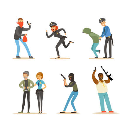 Set of Police Officers and Robbers, Criminals Running away from Policeman, Police Officer Arrested Thief Cartoon Vector Illustration