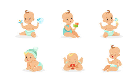 Infant Baby Different Activities Set, Adorable Baby Boys and Girls Playing Toys, First Year Games and Development Cartoon Vector Illustration