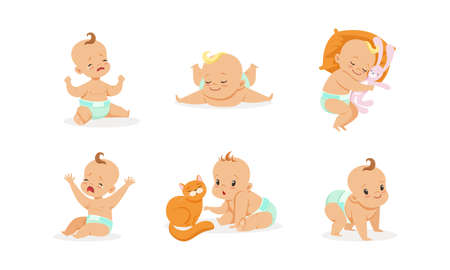 Infant Baby Different Activities Set, Adorable Baby Boys and Girls Playing, Sleeping, Crying, First Year Development Cartoon Vector Illustration