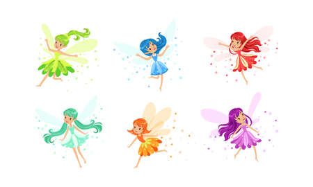 Cute Little Fairies with Wings Set, Charming Long Haired Girls Dressed Pretty Colorful Dresses Cartoon Vector Illustration