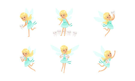 Cute Little Tooth Fairy Set, Charming Blonde Girl with Wings in Blue Dress Holding Kids Tooth Cartoon Vector Illustration