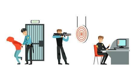 Policeman in Uniform Working at Police Station Set, Police Officer Arrested Criminal, Detective Investigating Crime, Trained in Shooting Cartoon Vector Illustration
