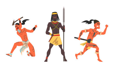 Set of Aboriginal or Indigenous Warriors, African and Indian Men Dressed in Ethnic Clothes with Weapon Cartoon Vector Illustration