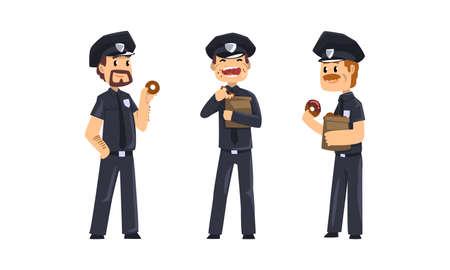 Male Police Officers Eating Donuts Set, Policemen in Blue Uniform Having Lunch Vector Illustration