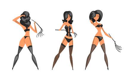 Dominatrix Woman in Black Costume with Leather Whip Set Vector Illustration Ilustración de vector