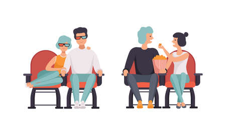 Loving Couples Watching Film in Movie Theater Set, Happy Couple Having Date in Cinema Hall, Front View Flat Vector Illustration