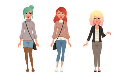 Fashionable Girls Wearing Stylish Outfit Set, Beautiful Cheerful Young Women Dressed Trendy Casual Clothes Flat Vector Illustration