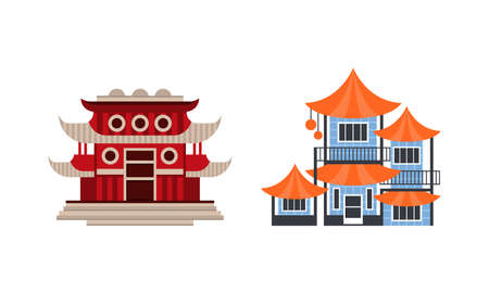 Japanese or Chinese Traditional Buildings Set, Ancient Asian Cultural Objects Facades Flat Vector Illustration