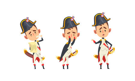 French Emperor Napoleon Bonaparte Set, Funny Historical Character in Military Uniform with Different Emotions Cartoon Vector Illustration