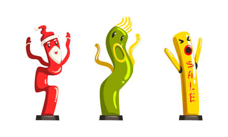 Dancing Inflatable Tube Men Waving Air Hands Set, Colorful Inflatable Tube for Advertising Cartoon Vector Illustration