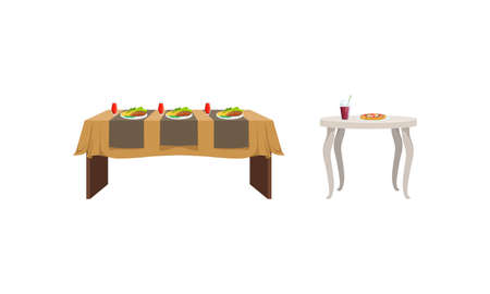Festive Tables with Food Dishes Set, Banquet Table with Drinks and Tasty Meals Vector Illustration