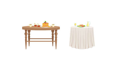Tables with Tasty Dishes Set, Served Table with Breakfast Meals Vector Illustration