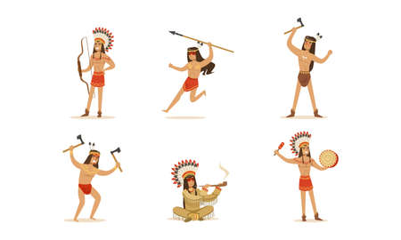 Native American Indians in Traditional Clothes Set, Male Warriors with Weapon Cartoon Vector Illustration