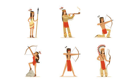Native American Indians in Traditional Clothes Set, Male and Female Warriors with Bows and Spears Cartoon Vector Illustration