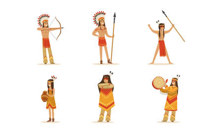 Native American Indians in Traditional Clothes and Headdress Set Cartoon Vector Illustration