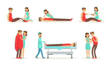 Set of Emergency First Aid Resuscitation Procedures, Young Woman Providing First Aid Treatment to Man, Paramedic Hospitalizing Patient Cartoon Vector Illustration