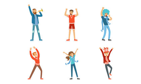 Fans Cheering for Their Team Set, Happy People Wearing Red and Blue Clothes Supporting Athletes Cartoon Vector Illustration