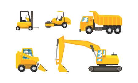 Construction and Industrial Vehicles Set, Excavator, Forklift, Truck, Tractor Cartoon Vector Illustration