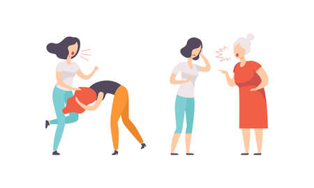Woman Quarrelling and Arguing with Each Other Shouting and Yelling Vector Illustration Set