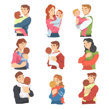 Young Moms and Dads Hugging their Toddler Babies Set, Parenting and Kids Care Cartoon Vector Illustration